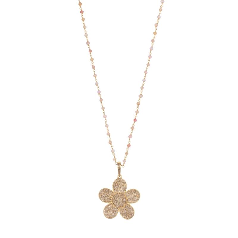 Collier en Vermeil Jaune, Diamants Champagne , Gold Flower