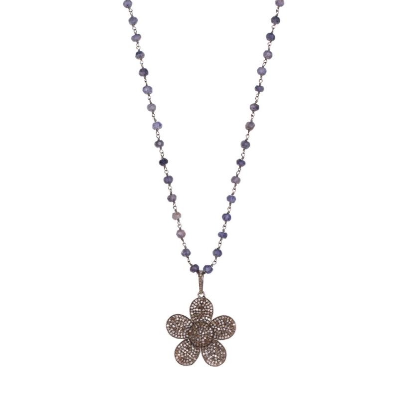 Collier en Argent, Diamants Champagne , Silver Flower
