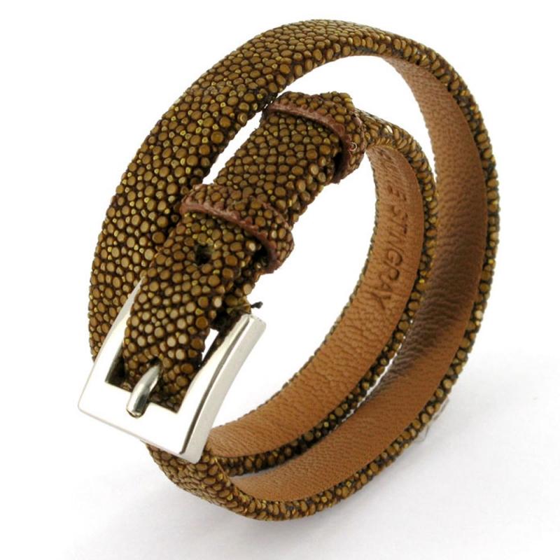 Bracelet double tour en galuchat , SENSO Marron