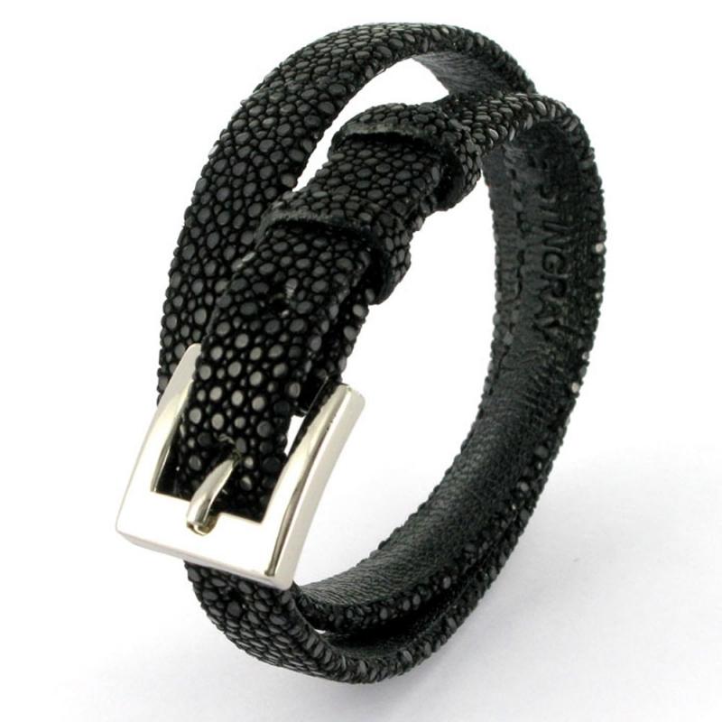 Bracelet double tour en galuchat , SENSO Noir