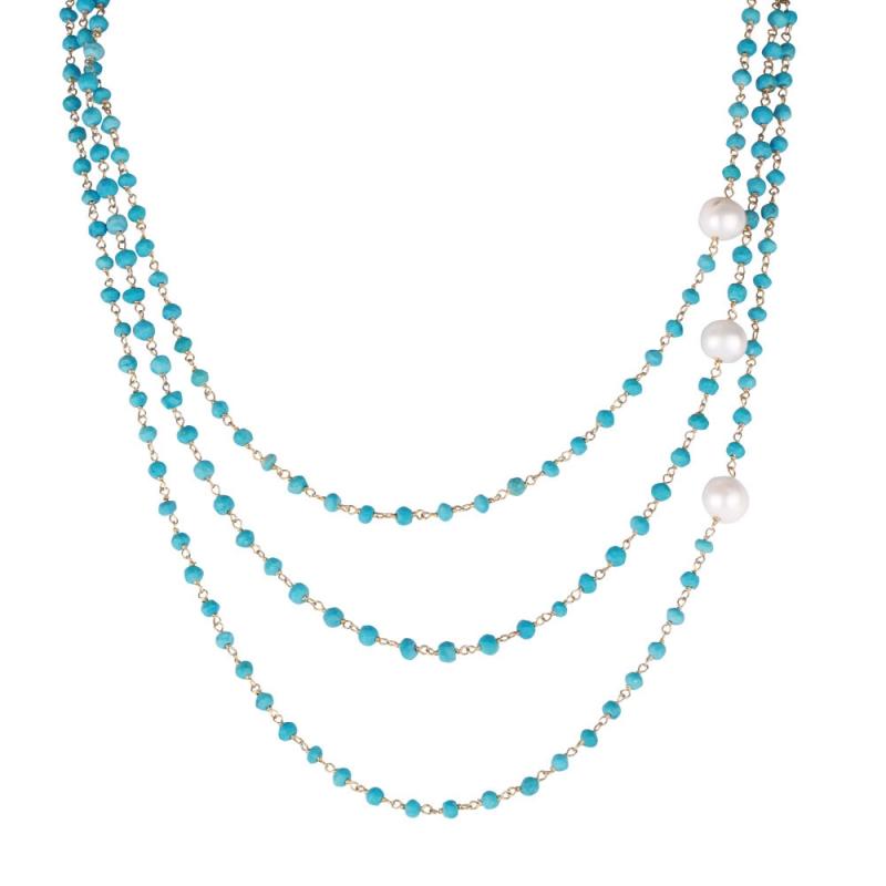 Collier en Vermeil Jaune, Perles Naturelles et Turquoises , Triple Turquoise