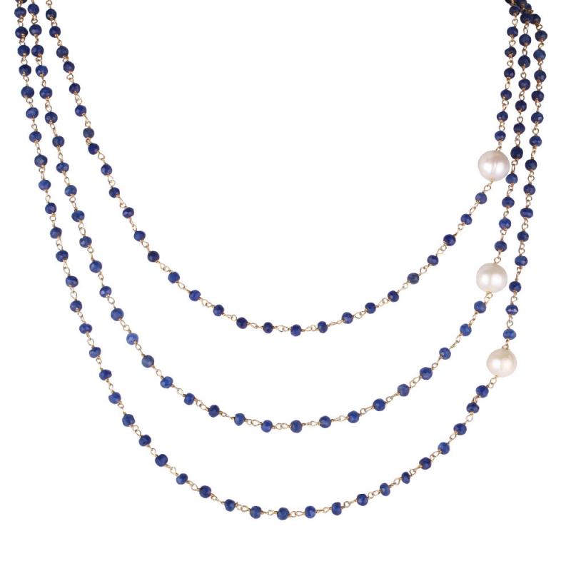 Collier en Vermeil Jaune, Perles Naturelles et Lapis Lazuli , Triple Lapis Lazuli