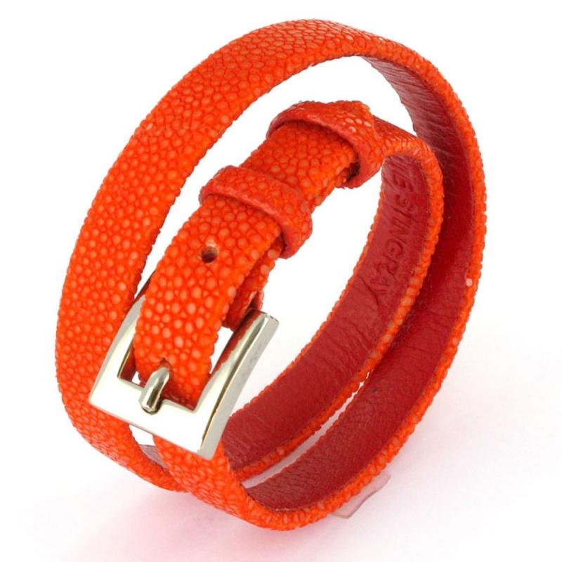 Bracelet double tour en galuchat , SENSO Orange