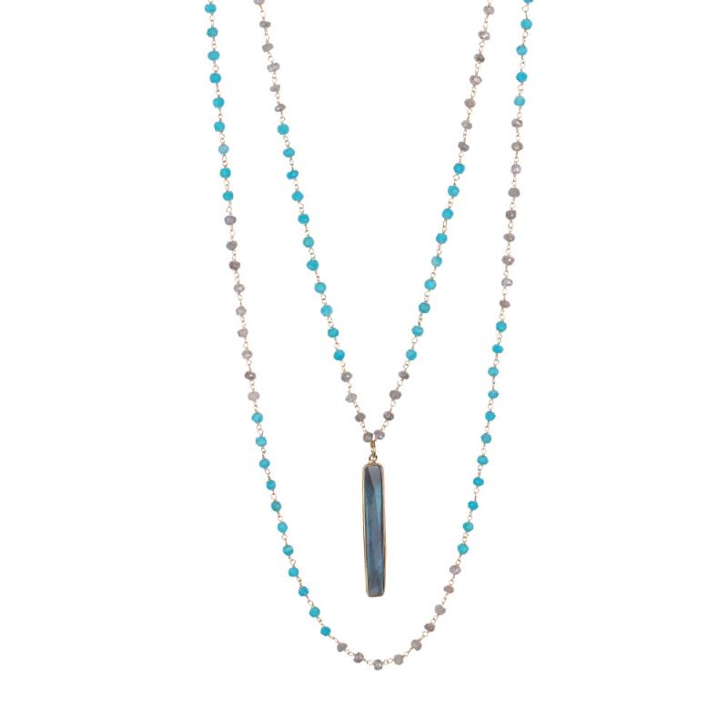 Collier en Vermeil Jaune, Labradorite et Turquoise , Barette Double Y