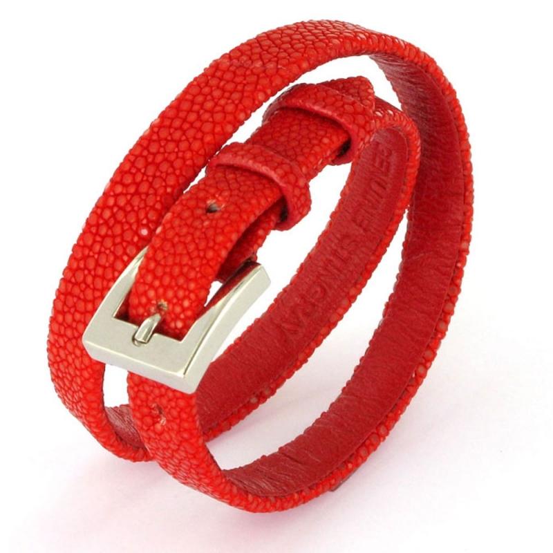 Bracelet double tour en galuchat , SENSO Rouge