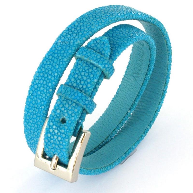 Bracelet double tour en galuchat , SENSO Turquoise