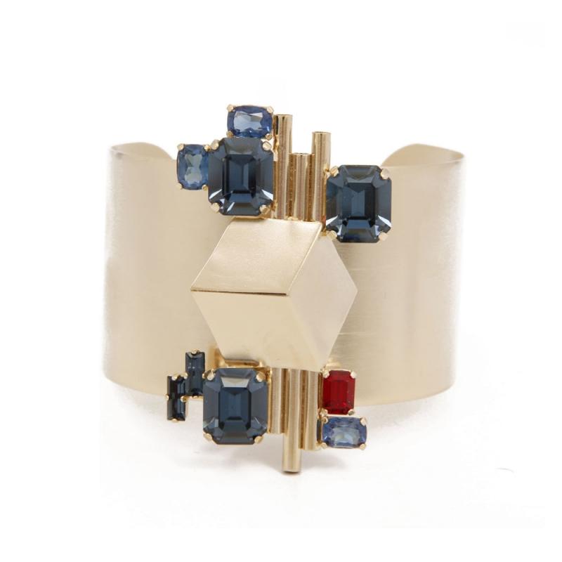 Bracelet Laiton doré Or 18k, Cristaux Swarovski , Cube