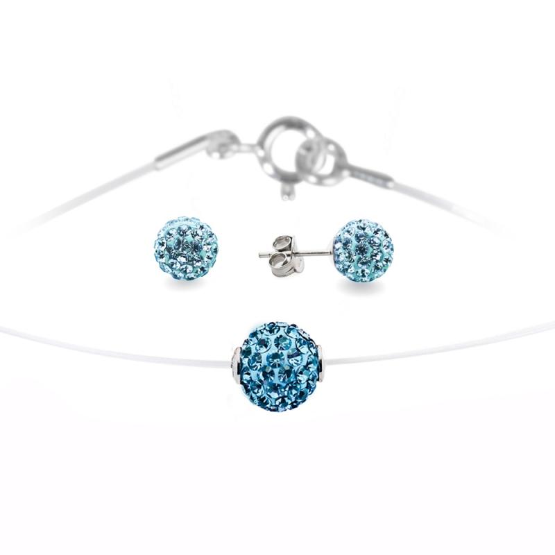 Parure argent et Swarovski , Lady Glam Turquoise