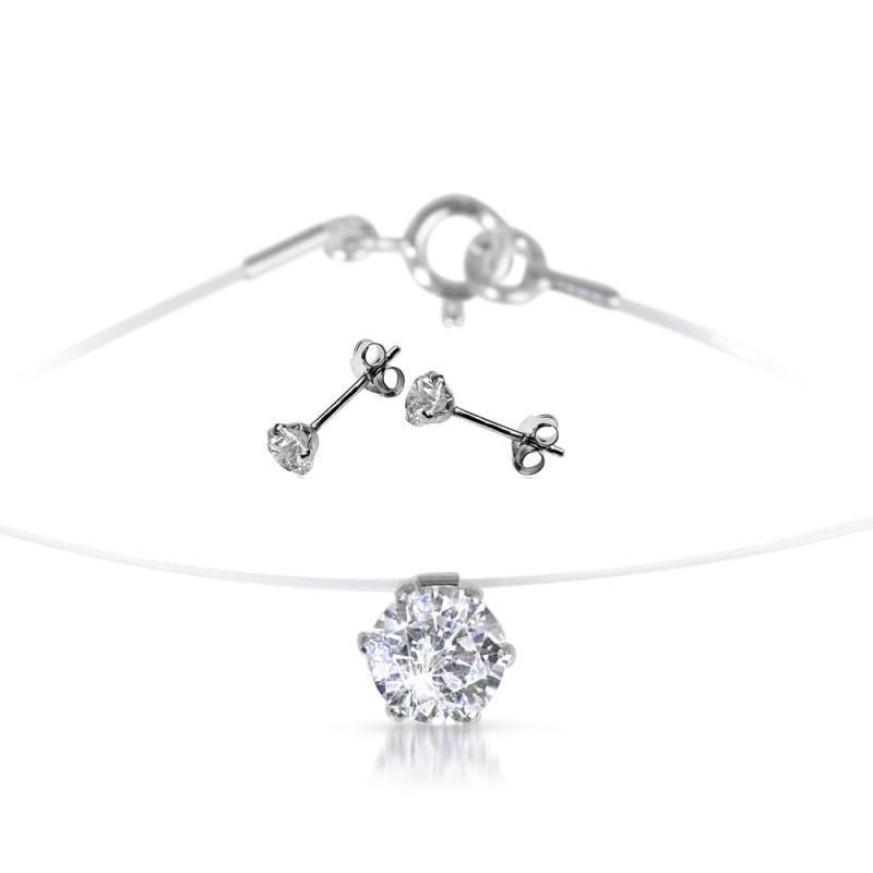 Boucles d'oreilles et collier argent ornés de Swarovski®  zirconia , Parure Point de Lumiére