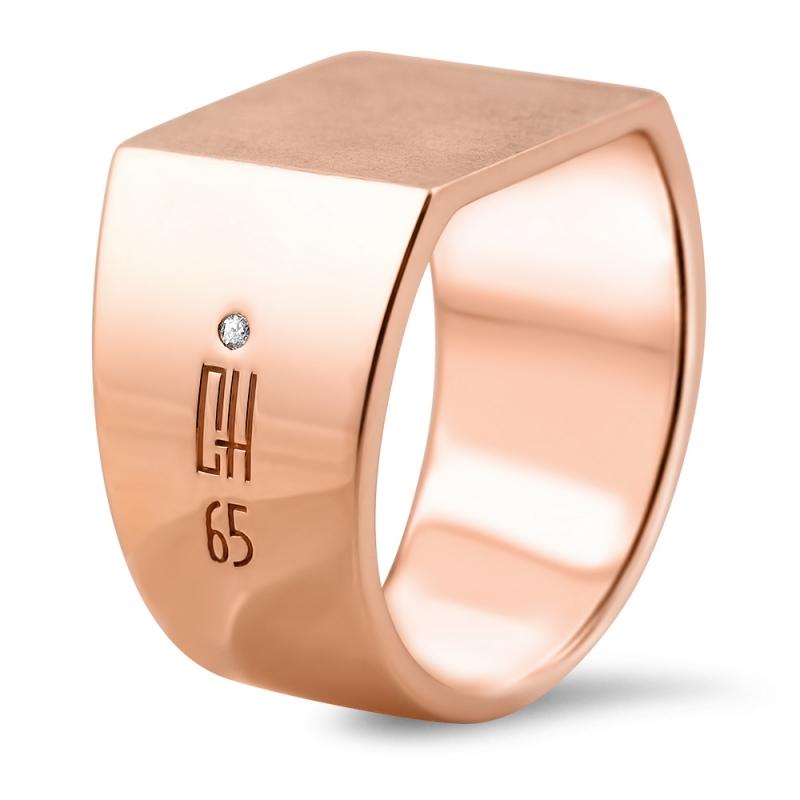 Rose Gold Vermeil Diamond Signet Ring For Men , Schucky