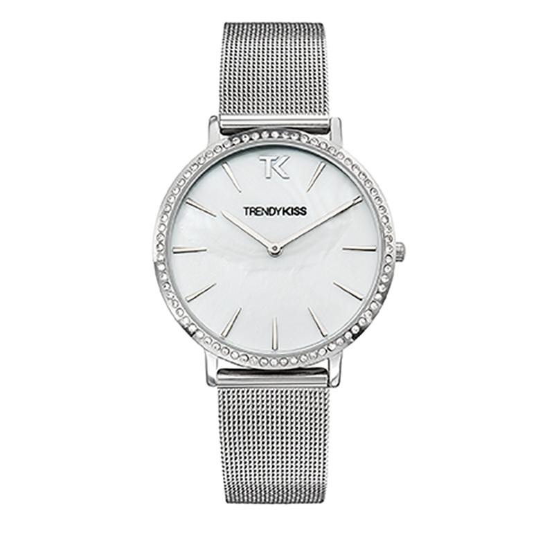 Montre Femme Trendy Kiss, Cadran Blanc Bracelet Maille , Lovisa TM10090-01