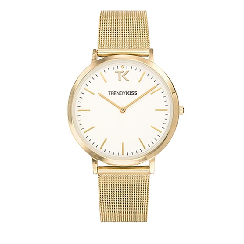 Montre Femme Trendy Kiss, Cadran Blanc Bracelet Maille Or , Lovisa TMG10089-01