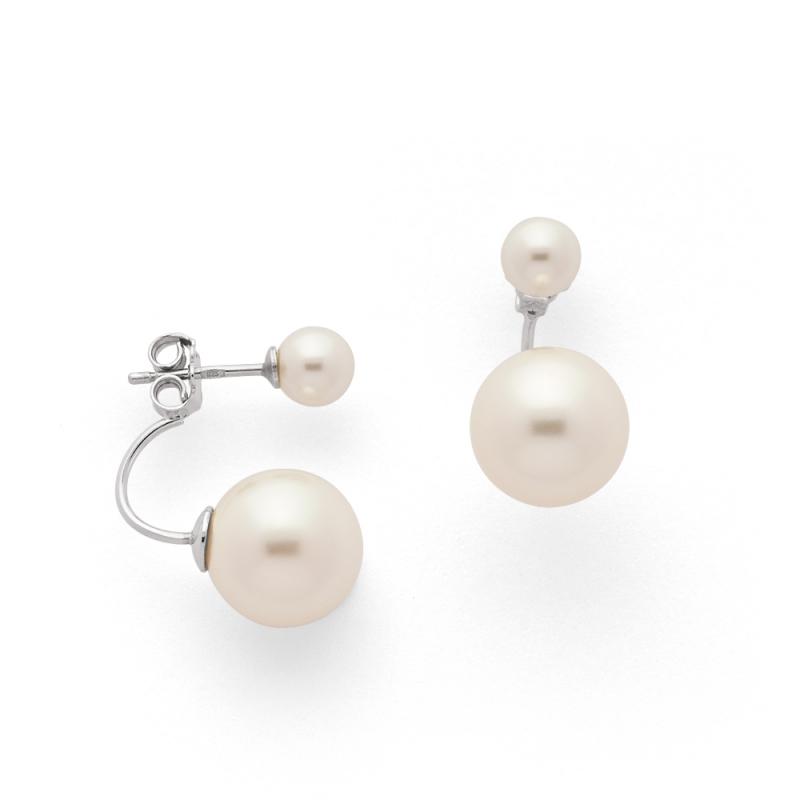Boucles d'oreilles Argent et Perles Swarovski , Aurora Perles Blanches