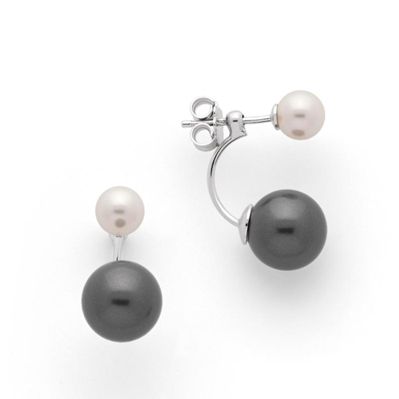 Boucles d'oreilles Argent et Perles Swarovski , Aurora Perles Blanches et Grises