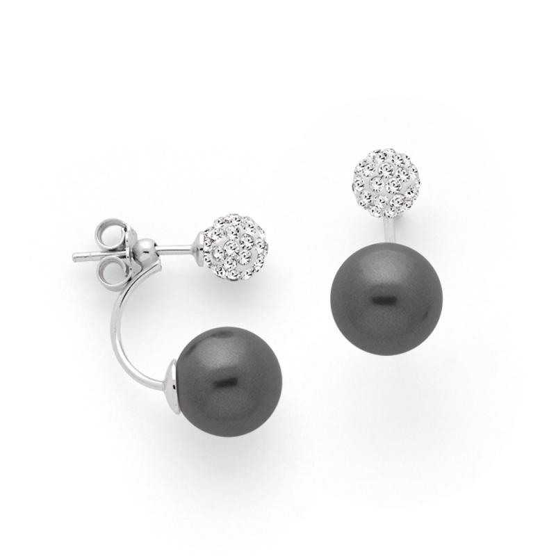 Boucles d'oreilles Argent et Perles Swarovski , Aurora Pavée et Perles Grises