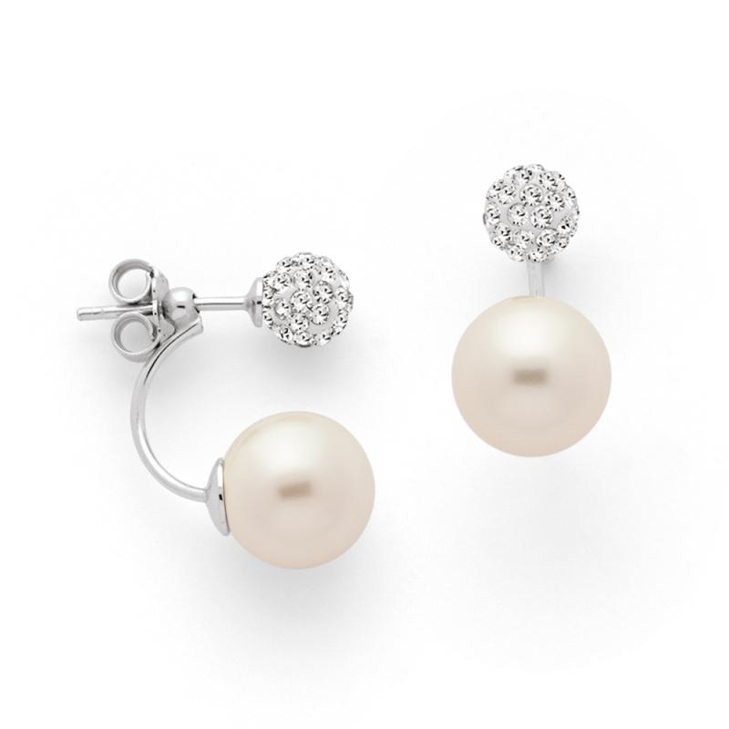 Boucles d'oreilles Argent et Perles Swarovski , Aurora Pavée et Perles Blanches