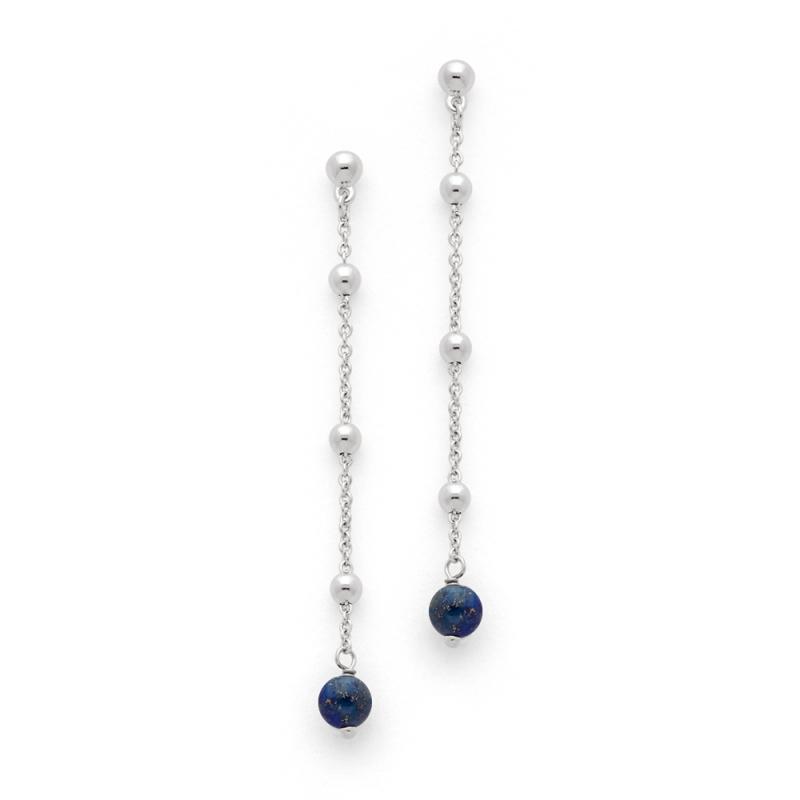Boucles d'oreilles Argent et Lapis lazuli , Orlando Perles Lapis Lazuli