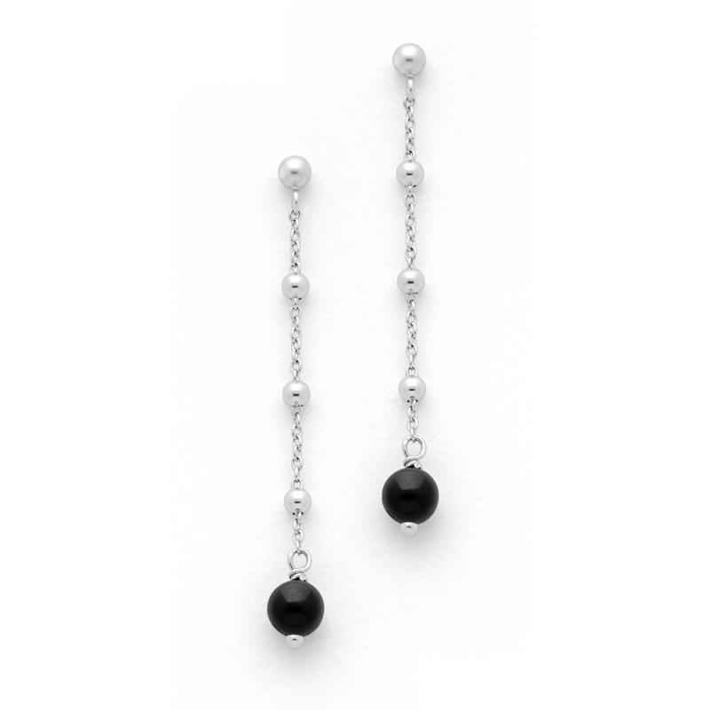Boucles d'oreilles Argent et Onyx , Orlando Perles Onyx