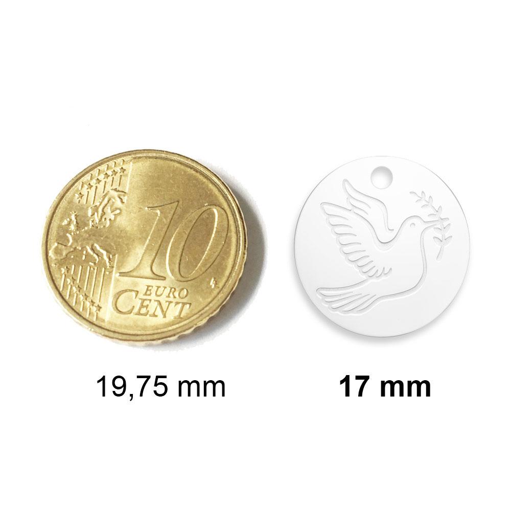 medaille bapteme naissance argent 17 mm disque à graver diveene joaillerie