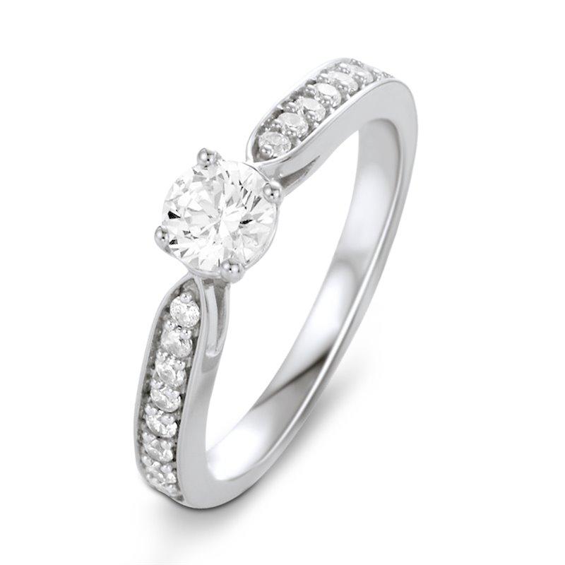 Solitaire Or blanc, Diamant , Lara 0.10 Ct