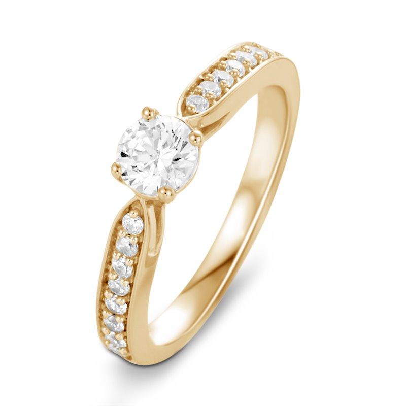 Solitaire Or jaune, Diamant , Lara 0.10 Ct