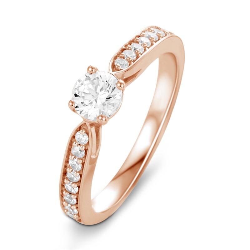 Solitaire Or rose, Diamant , Lara 0.15 Ct