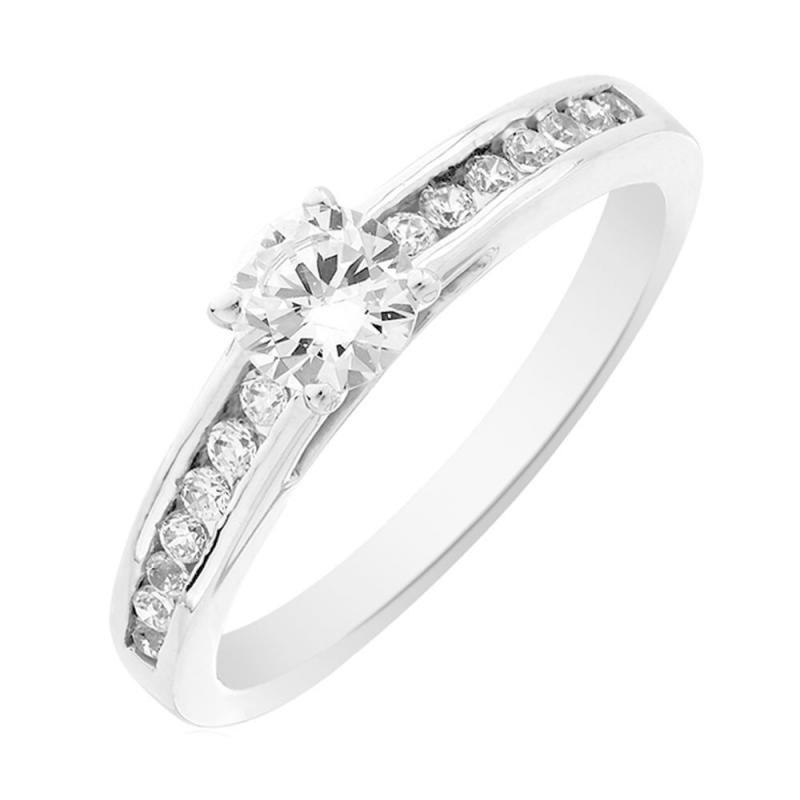 Solitaire or blanc, Diamant , Aerin 0.15 Ct