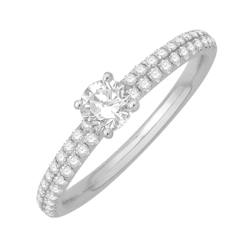 18k White Gold Diamond Solitaire Ring , Alice 0.38 Ct