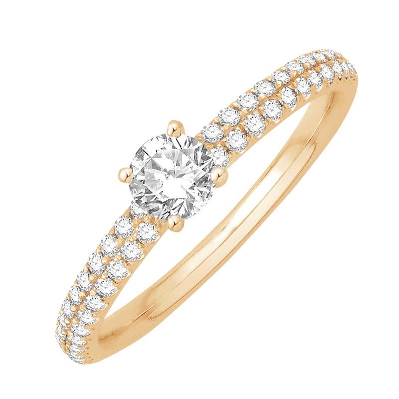 Solitaire Pavé Or jaune, Diamants , Alice 0.50 Ct