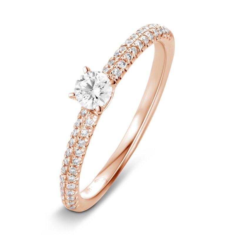 18k Rose Gold Diamond Engagement Ring , Léona 0.40 Ct