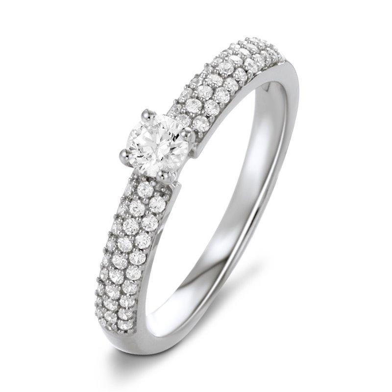 18k White Gold Diamond Engagement Ring , Mila