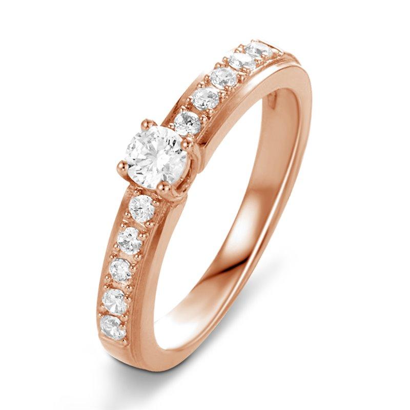 18k Rose Gold Diamond Engagement Ring , Vivian