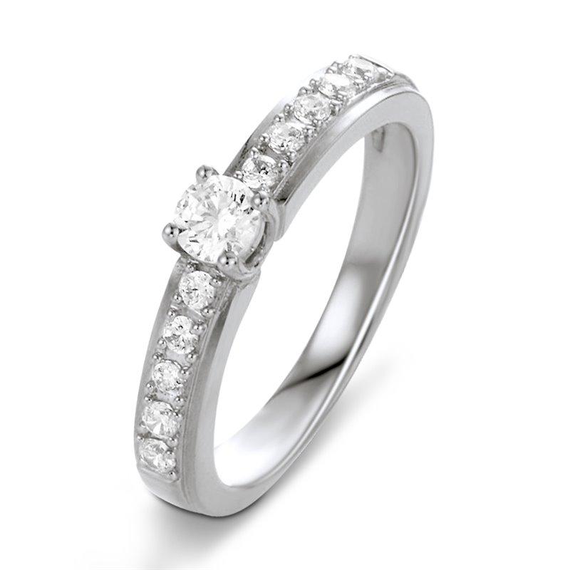 Solitaire Pavé Or Blanc, Diamant , Vivian