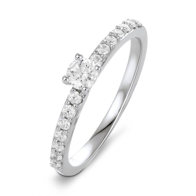Solitaire Pavé Or Blanc, Diamant , Diana 0.20 Ct