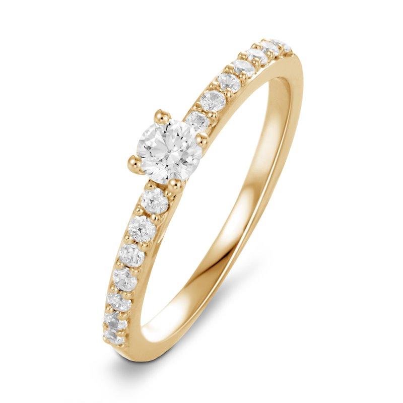 Solitaire Pavé Or jaune, Diamant , Diana 0.40 Ct