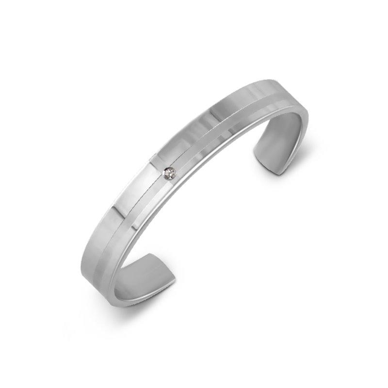 Bracelet Bangle Rhodié pour Homme , Arsène