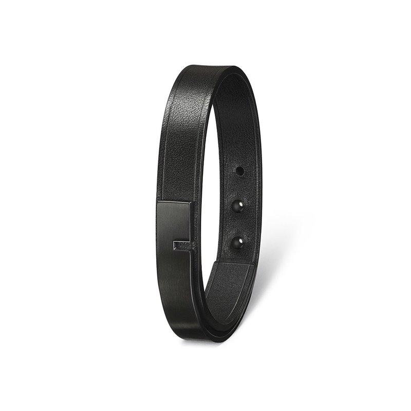 Bracelet Homme Cuir Ingrassato noir, Ursul Paris , U-Turn 11 Black