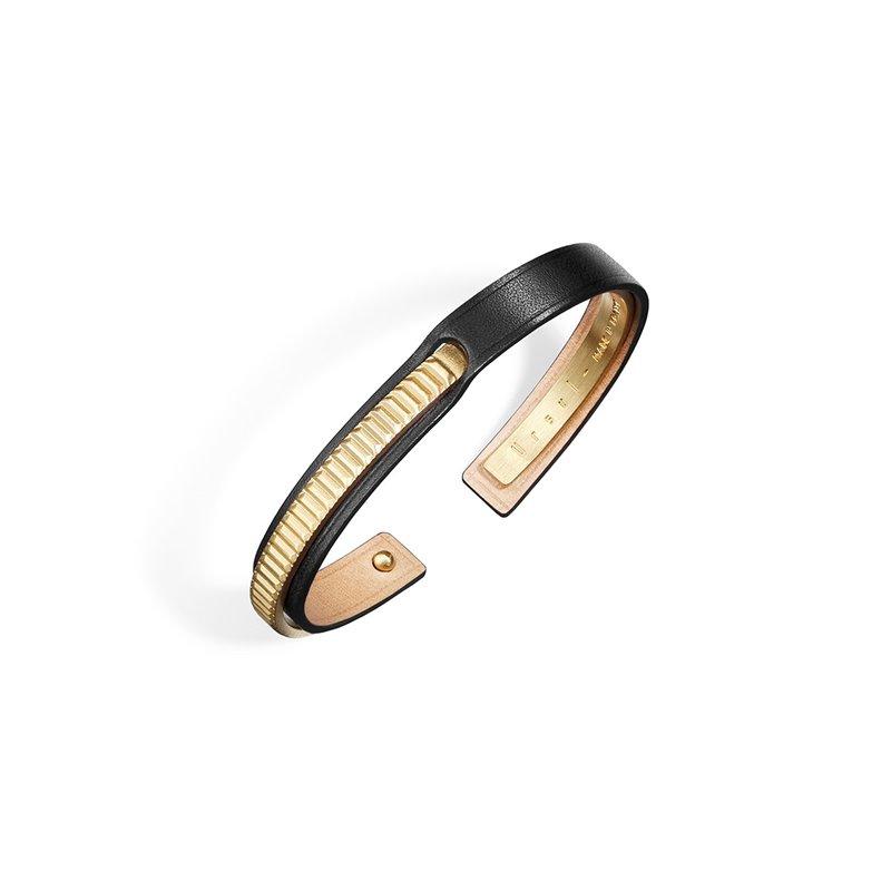 Bracelet Jonc Homme Cuir Ingrassato noir, Ursul Paris , URAEUS Gold Matte