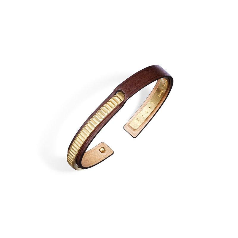 Bracelet Jonc Homme Cuir Ingrassato fauve, Ursul Paris , URAEUS Gold Matte