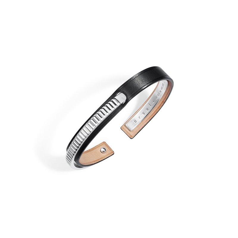 Bracelet Jonc Homme Cuir Ingrassato noir, Ursul Paris , URAEUS Silver Matte