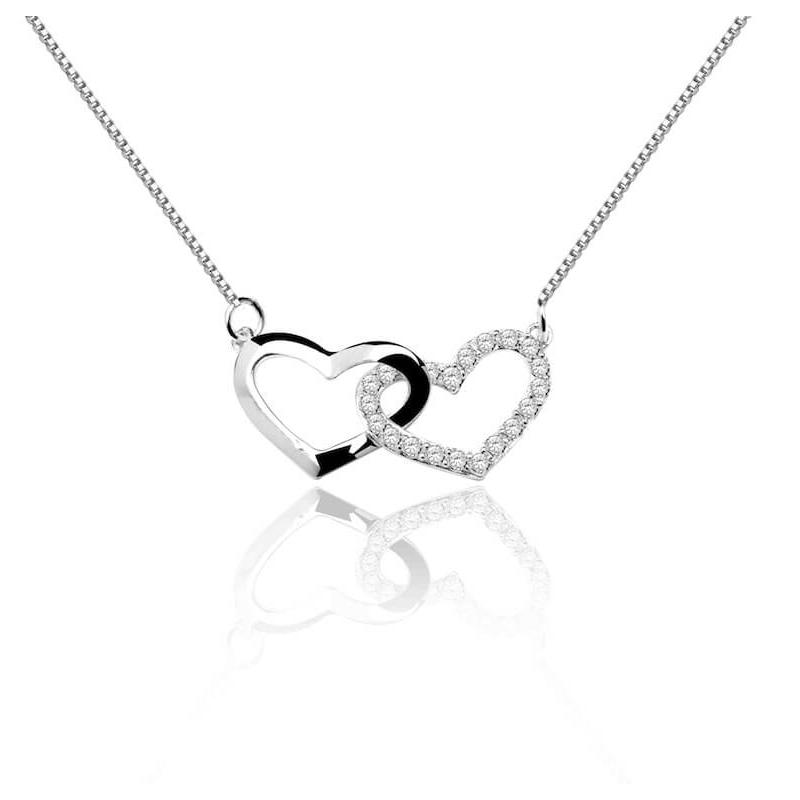 Collier en argent, Oxydes de zirconium , Twin Heart