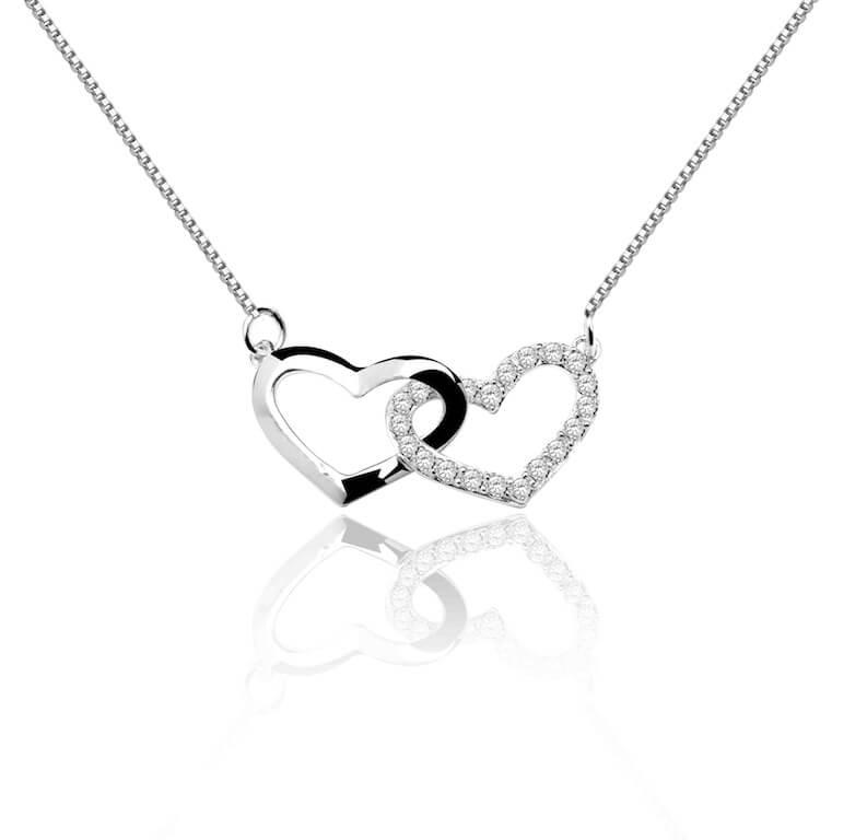 Collier argent et oxydes de zirconium - Twin Heart