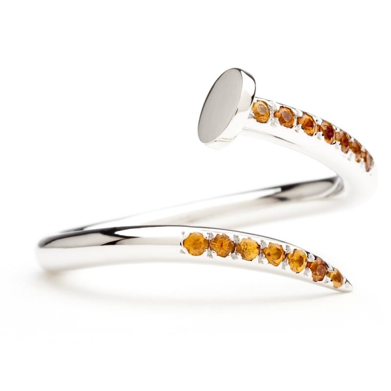 18k White Gold Spessartite Garnet Ring , C' le clou