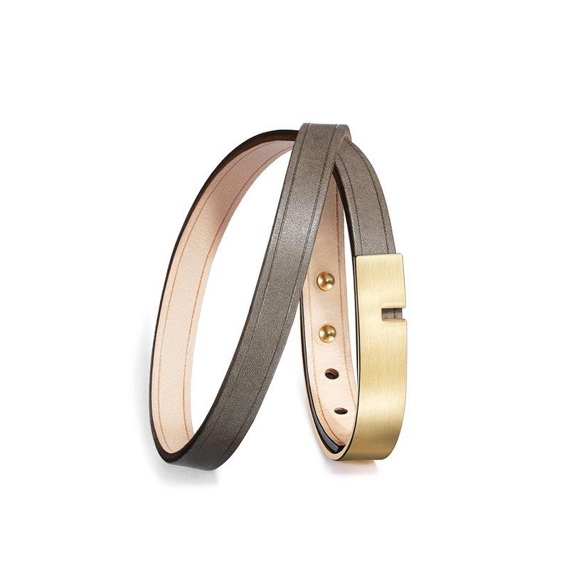Bracelet Homme Cuir Ingrassato gris, Ursul Paris , U-Turn Twice Gold Matte