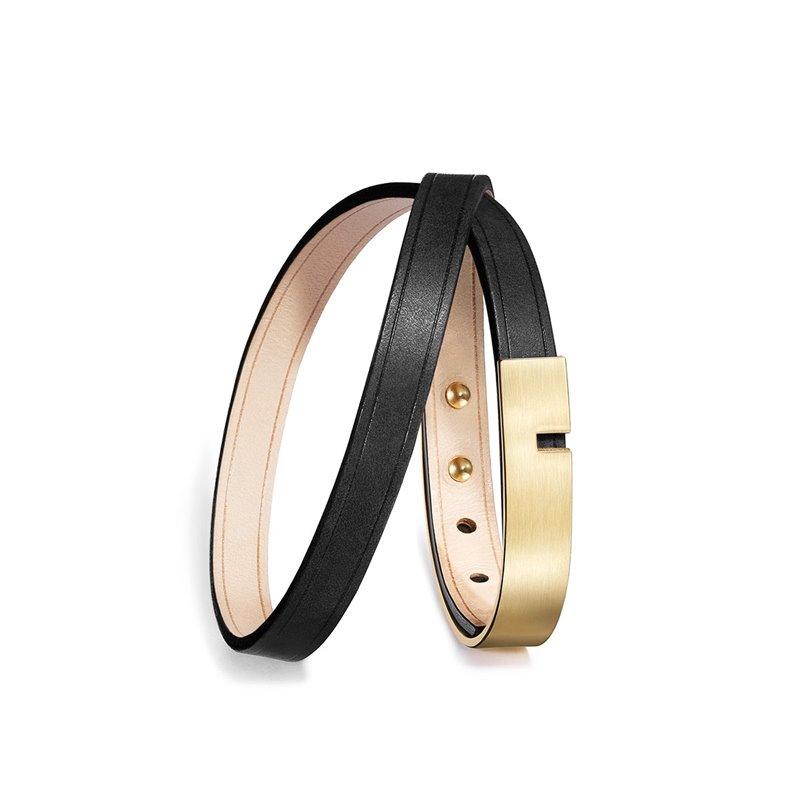 Bracelet Homme Cuir Ingrassato noir, Ursul Paris , U-Turn Twice Gold Matte