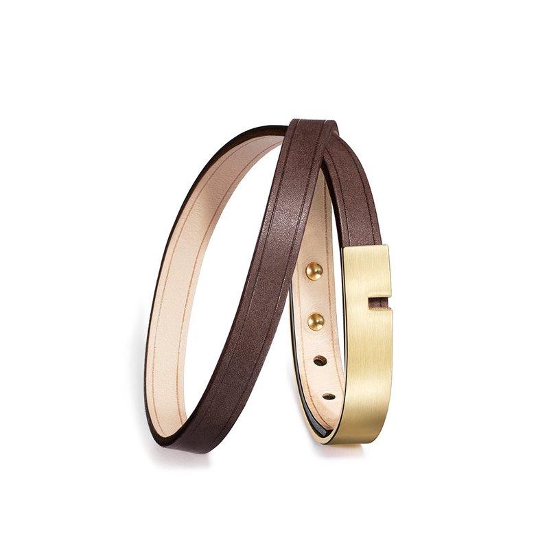 Bracelet Homme Cuir Ingrassato chocolat, Ursul Paris , U-Turn Twice Or Mat