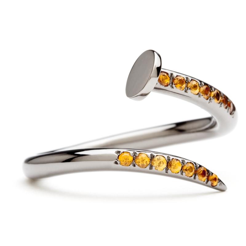 18k Black Gold Spessartite Garnet Ring , C' le clou