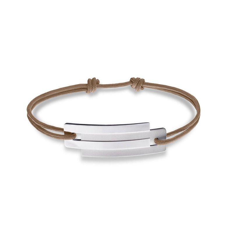 Beige String and Sterling Silver Bracelet for Men, Ursul Paris , Embrace