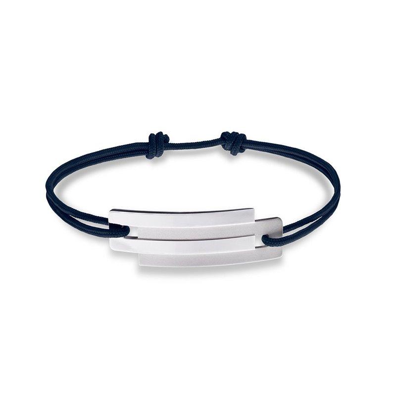 Blue String and Sterling Silver Bracelet for Men, Ursul Paris , Embrace