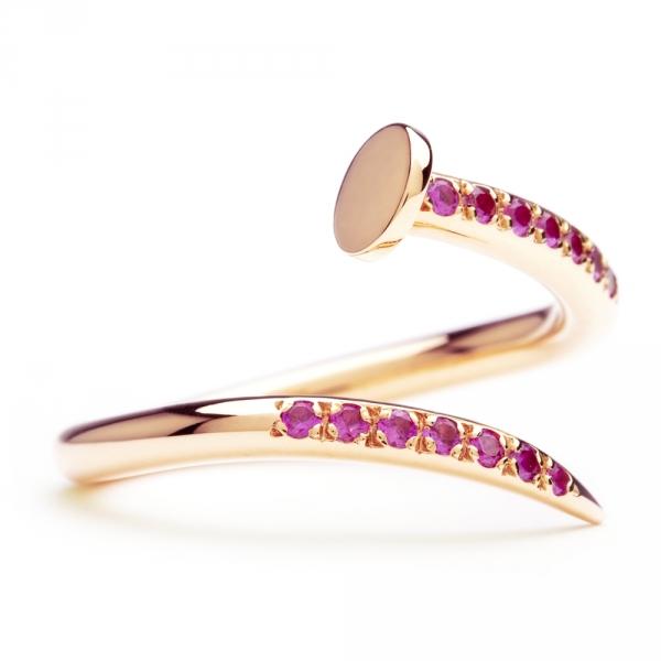 bague clou en or rose et saphirs roses diveene joaillerie bague pierres roses